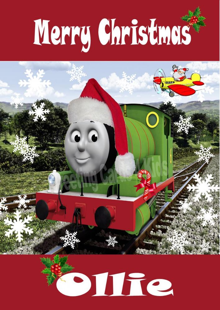 Personalised Percy Train Christmas Card